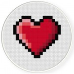 8-Bit Heart Cross Stitch Illustration