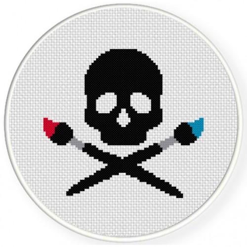 Artist Skull Cross Stitch Illustration