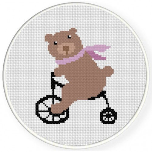 Bear On A Bike Cross Stitch Illustration
