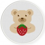Berry Bear Cross Stitch Illustration