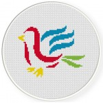 Bird Brush Stroke Cross Stitch Illustration