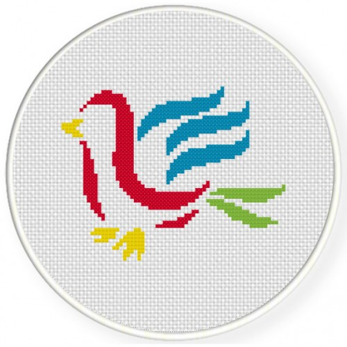 Bird Brush Stroke Cross Stitch Illustration