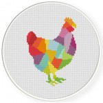 Colorful Hen Cross Stitch Illustration