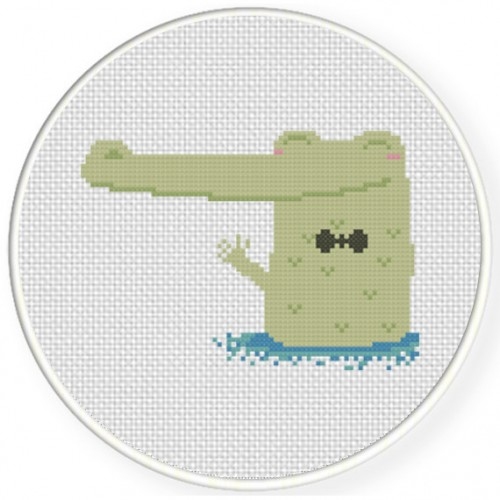 Crocodile In  Water Cross Stitch Illustration