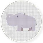 Cute Hippo Cross Stitch Illustration