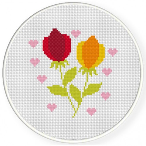 Flowers And Hearts Cross Stitch Illustration