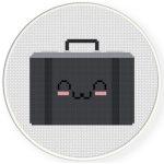 Happy Briefcase Cross Stitch Illustration