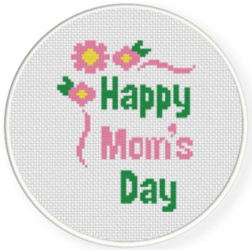 Happy Mom's Day Cross Stitch Illustration