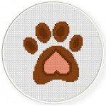 Heart Paw Print Cross Stitch Illustration