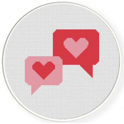 Heart Talk Cross Stitch Illustration