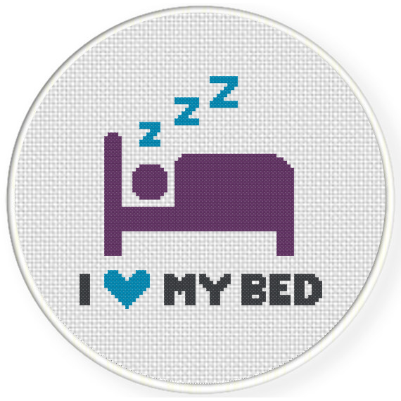 I Love My Bed charts club members only: i love my bed cross stitch pattern