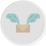 Letter Wings Cross Stitch Illustration