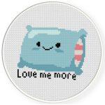 Love Me More Pillow Cross Stitch Illustration
