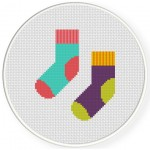 Mismatched Socks Cross Stitch Illustration
