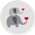 Mother And Child Elephant Cross Stitch Illustration