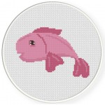 Pink Fish Cross Stitch Illustration