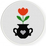 Potted Tulip Cross Stitch Illustration