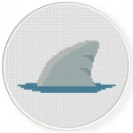 Sharks Fin Cross Stitch Illustration