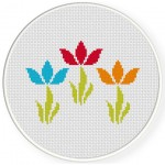 Simple Flower Swirls Cross Stitch Illustration
