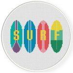 Surf Cross Stitch Illustration