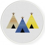 Three Teepees Cross Stitch Illustration