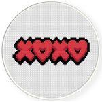 XOXO Heart Cross Stitch Illustration