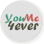 You Me 4ever Cross Stitch Illustration