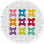 9 Flowers Cross Stitch Illustration