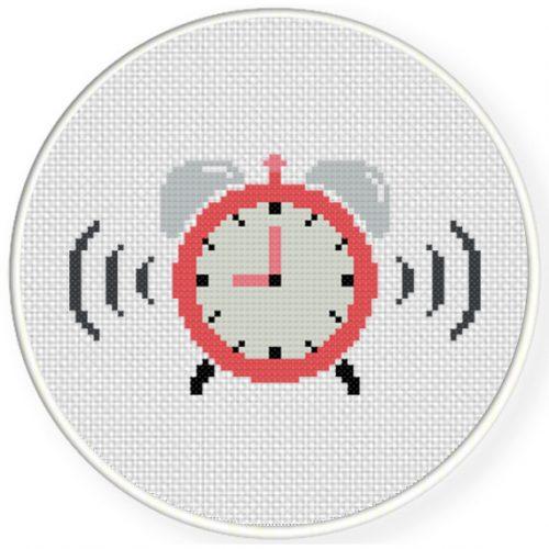 Alarm Clock Cross Stitch Illustration