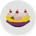 Banana Split Cross Stitch Illustration