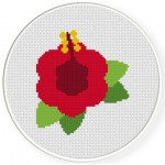 Beautiful Hibiscus Cross Stitch Illustration
