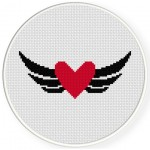Black Winged Heart Cross Stitch Illustration