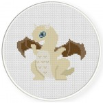 Blue Eyed Dragon Cross Stitch Illustration