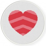 Chevron Heart Pattern Cross Stitch Illustration