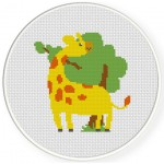 Cute Giraffe And A Tree Cross Stitch Illustration
