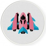 Cute Pink Spaceship Cross Stitch Illustration