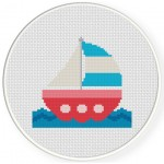 Cute Sailboat Cross Stitch Illustration