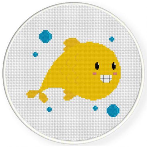 Cute Smiley Fish Cross Stitch Illustration