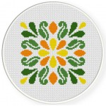 Deco Floral Cross Stitch Illustration