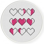 Heart Phases Cross Stitch Illustration