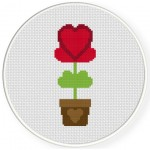 Heart Plant Cross Stitch Illustration