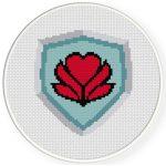 Heart Shield Cross Stitch Illustration