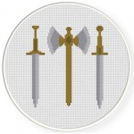 Medieval Weapons Cross Stitch Illustration