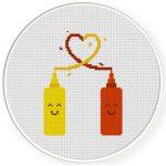 Mustard Loves Ketchup Cross Stitch Illustration