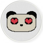 Panda Love Cross Stitch Illustration