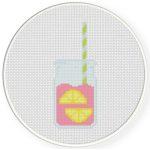 Pink Lemonade Cross Stitch Illustration