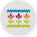 Pretty Florals Cross Stitch Illustration