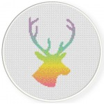 Rainbow Deer Head Cross Stitch Illustration