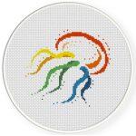 Rainbow Jellyfish Cross Stitch Illustration
