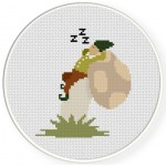 Sleeping Dwarf on a Mushroom Cross Stitch Illustration